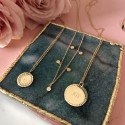 Hammered gold-plated 5-medal chain necklace