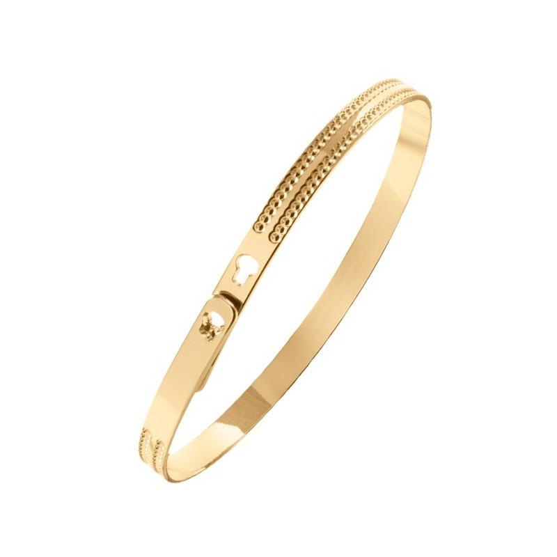 Double gold-plated dotted line lock Bangle