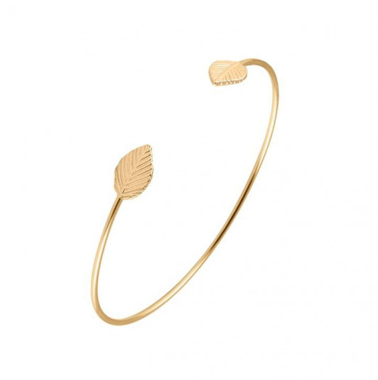 Open bangle bracelet with leaves