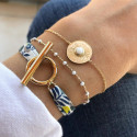Gold-plated white turquoise Calypso chain bracelet