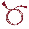 DARK RED TRIPLE BRAIDED TIE BARCELET WITH POMPOMS