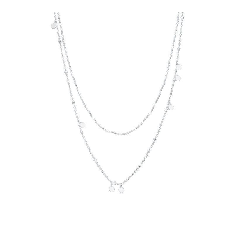 925 Silver two-row chain necklace with hanging medals