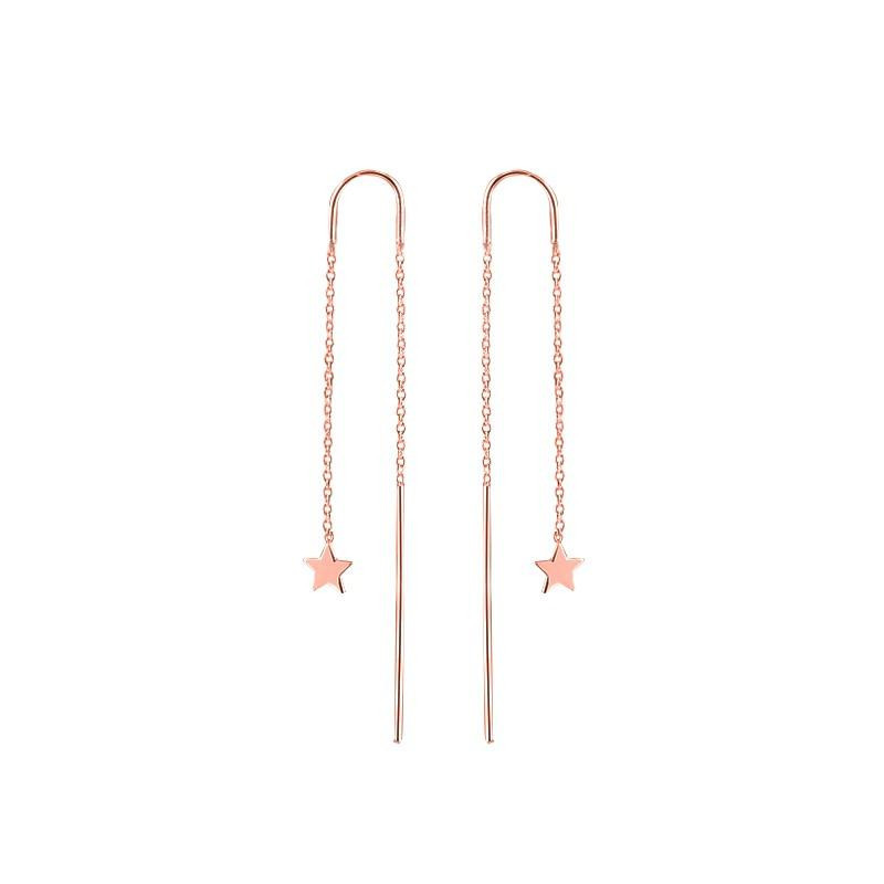 Rod and chain earrings with perforated triangle