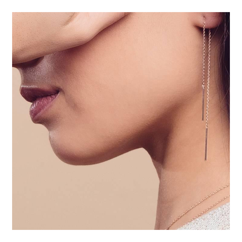 Double rod and chain earrings