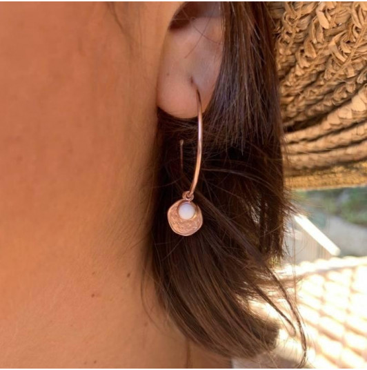 Rose gold-plated white turquoise Melia earrings