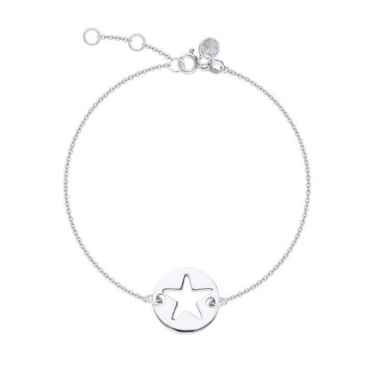 Chain bracelet with perforated star medal