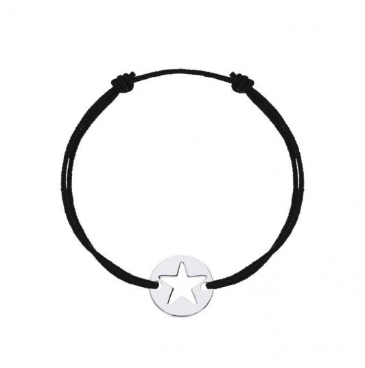 Tie bracelet with perforated star for men