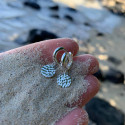 925 Silver hoop earrings with small hammered medal