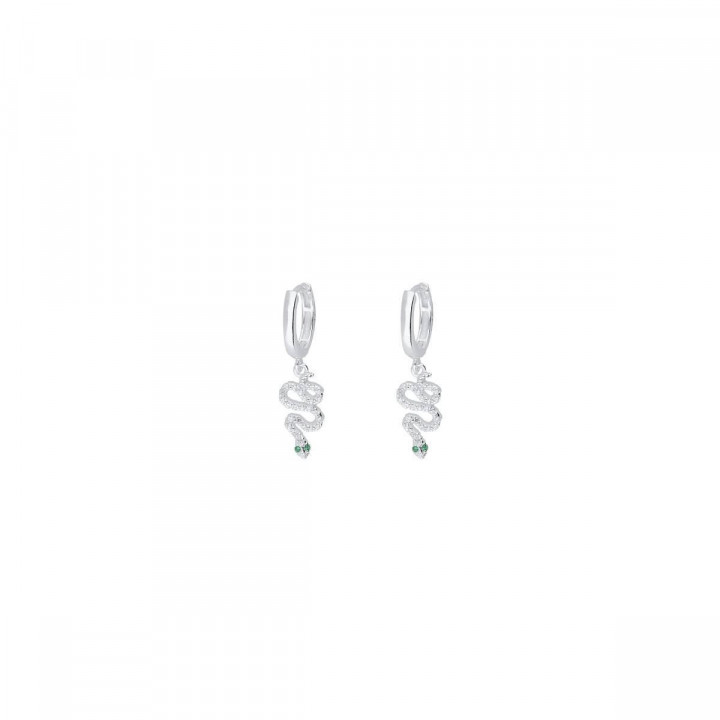 925 Silver hoop earrings with snake charms