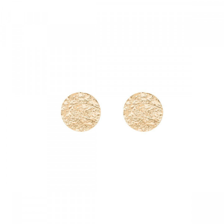 Gold-plated textured circle studs