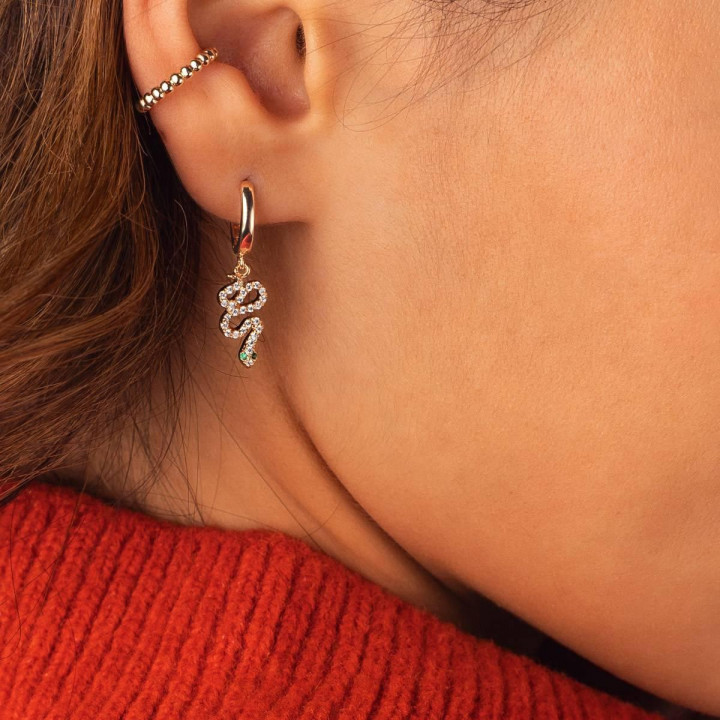 Gold-plated hoop earrings with snake charms
