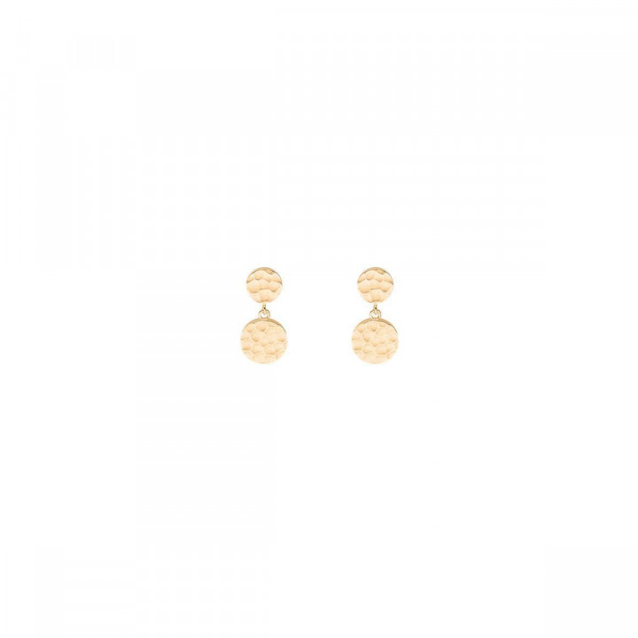 Gold-plated stud earrings with hammered medals