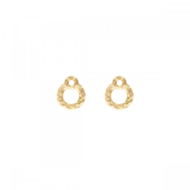 Gold-plated stud earrings with overlaid & hammered targets