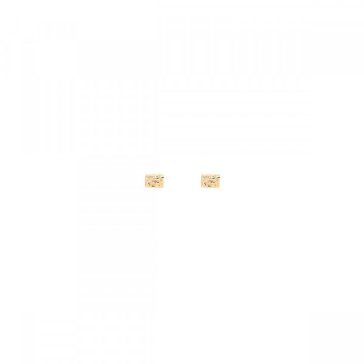 Gold-plated small textured rectangles stud earrings