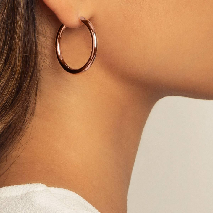 Rose gold-plated Thick hoop earrings