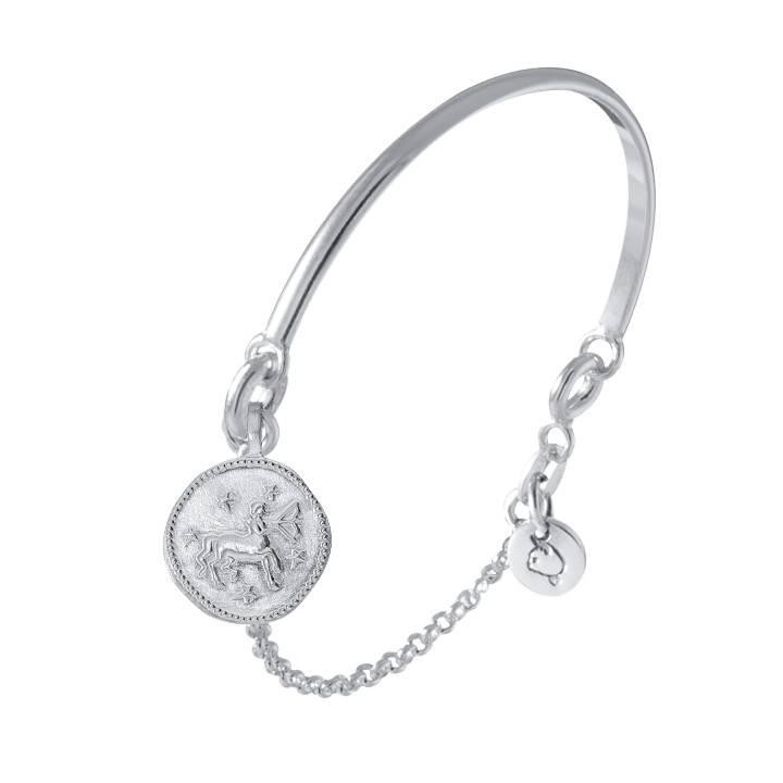 925 silver half bangle and chain bracelet with astrological sign