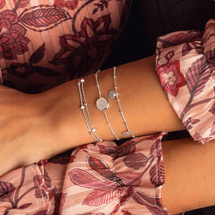 925 Silver beaded chain bracelet with mini medals