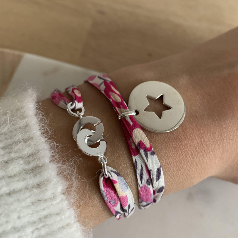 Liberty bracelet with 925 silver large hollowed star medal