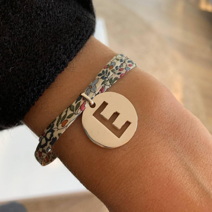Liberty bracelet with 925 silver large hollowed letter medal