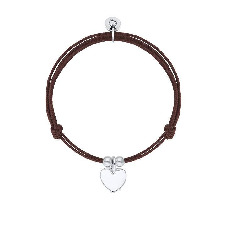 Tie bracelet with 925 Silver small heart medal and beads