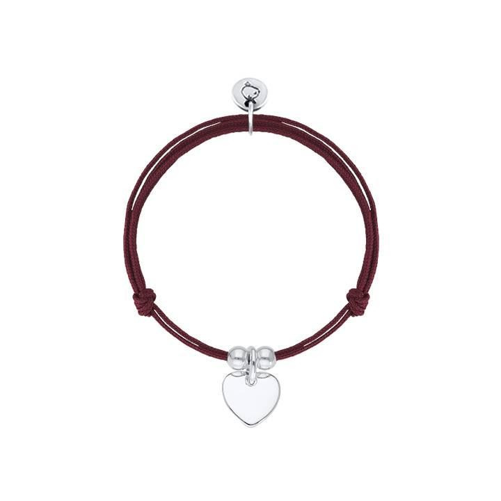 Tie bracelet with 925 silver heart medal & beads for children