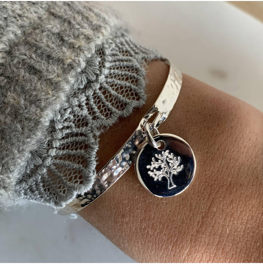 Lock bangle with hanging tree of life medal