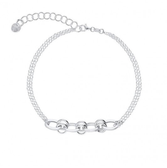 Two-row bracelet with large interlaced links
