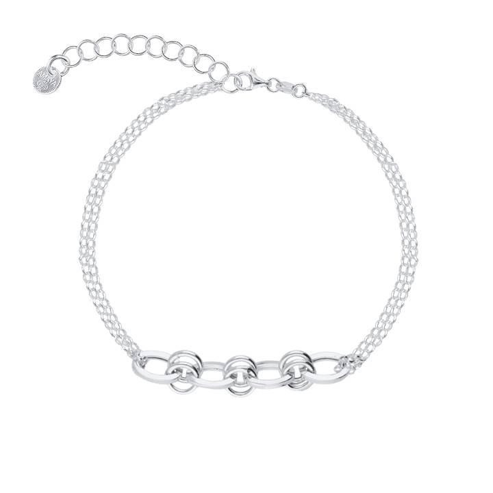 925 Silver Two-row bracelet with large interlaced links
