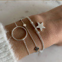 925 Silver two-row chain bracelet with star