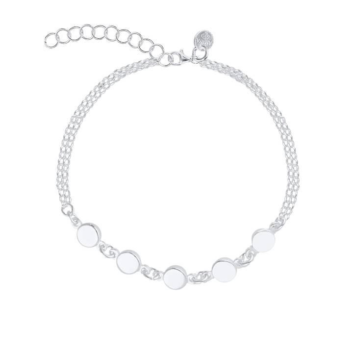 925 Silver Two row chain bracelet with small medals