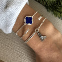 925 Silver chain bracelet with lapis lazuli clover medal