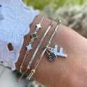 925 silver chain bracelet with mini medals & labradorite