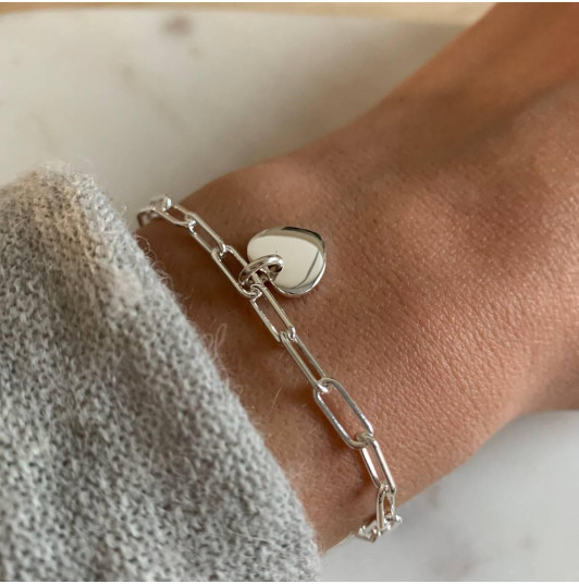 Chain bracelet with thick large links & curved heart medal