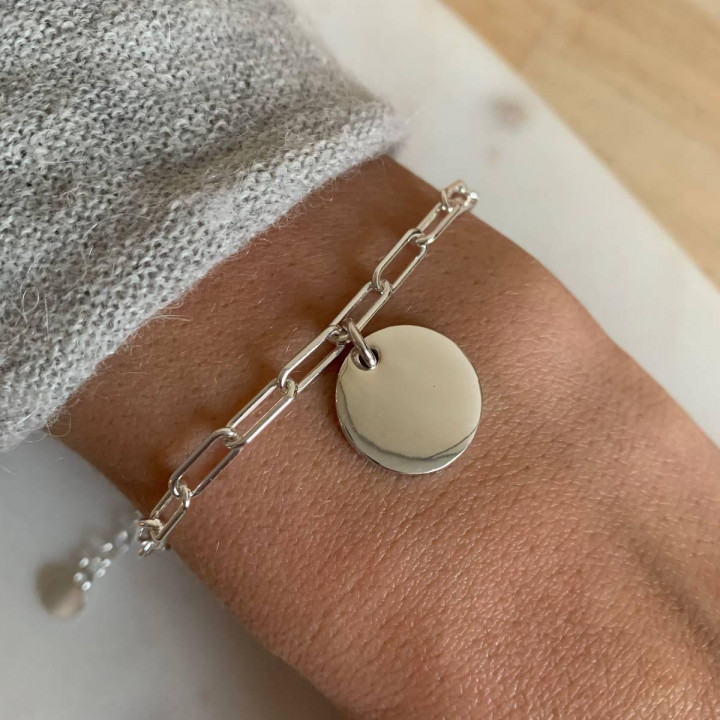925 Silver chain bracelet with large links & medal