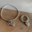 925 Silver Beads bracelet & small curved heart medal