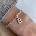 925 Silver chain bracelet with large links & initial