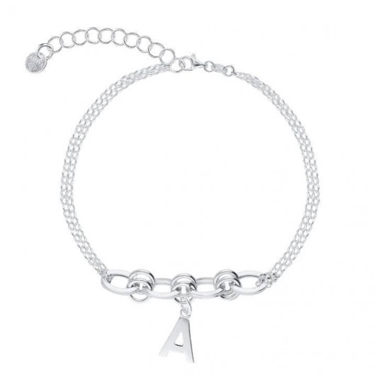 Two-row bracelet with large interlaced links & letter charm