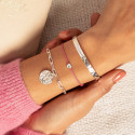 925 Silver chain bracelet with large links & hammered medal
