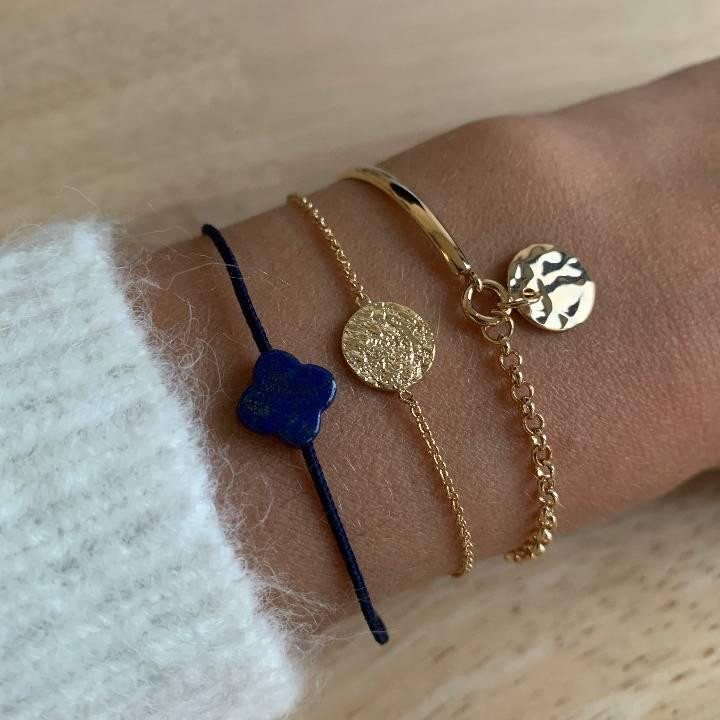 Gold-plated textured medal chain bracelet