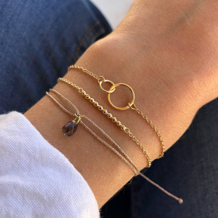 Gold-plated chain bracelet with beads row