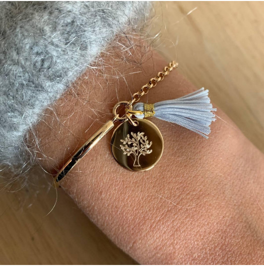 Half bangle and chain bracelet with tree of life & pompom