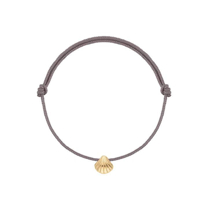 Tie bracelet with gold-plated mini shell