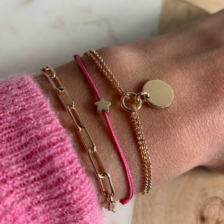 Gold-plated two-row chain bracelet with medal