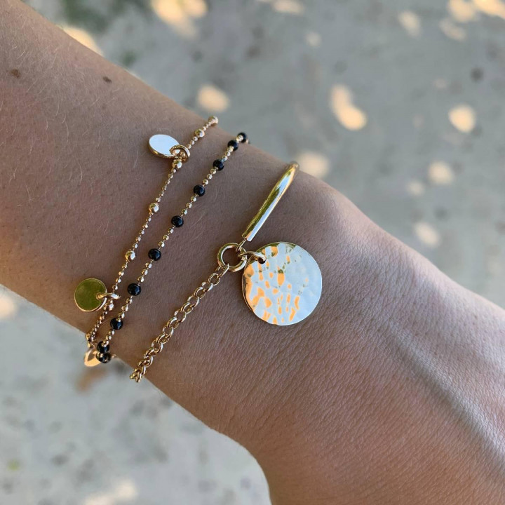 Gold-plated beaded chain bracelet with mini medals