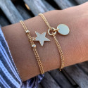 Gold-plated two-row chain bracelet with star