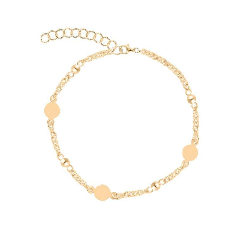 Gold-plated beads & medals chain bracelet
