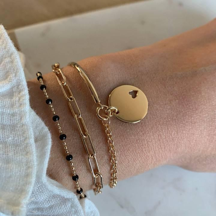Gold-plated chain bracelet with large & thick links