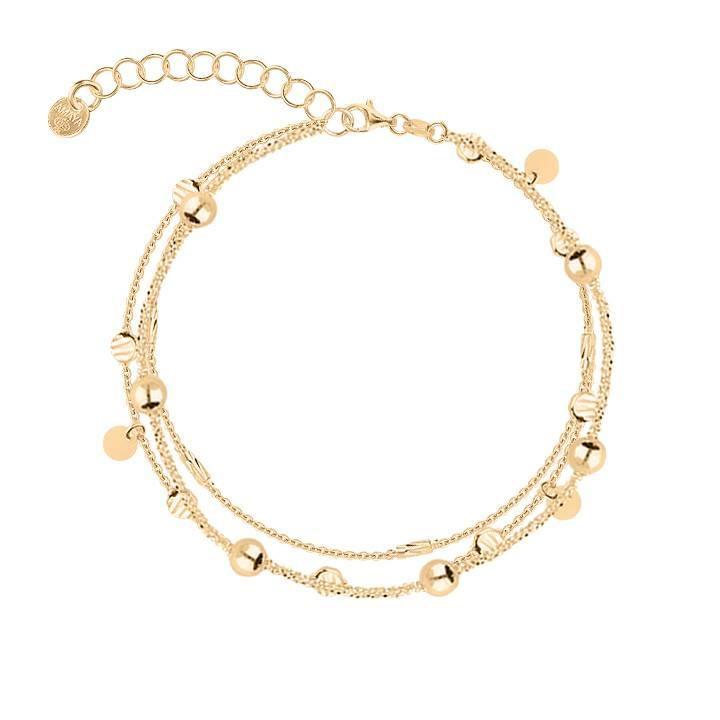 Gold-plated three-row chain bracelet with fancy beads