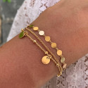 Gold-plated three-row chain bracelet with medals