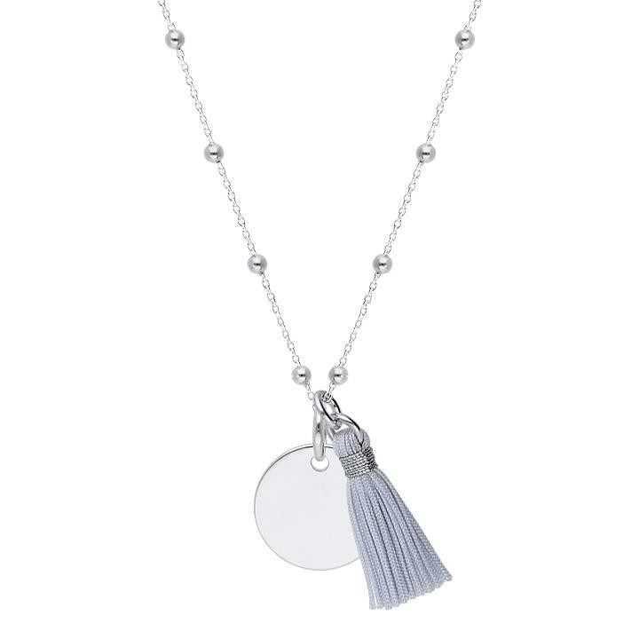 925 Silver beaded chain necklace with medal & pompom
